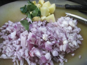 grated onion, potato