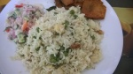 panneer mutter pulao served with yam roast and onion-cucumber-tomato raita